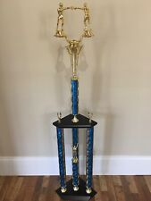 Beautiful Boxing Trophy 3 Post 2 Tier Huge near 4 ft. Tall Man Cave Den, Nice