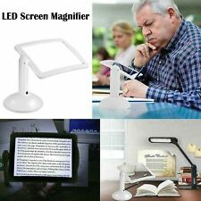 LED Screen Magnifier Hands Free Rotating Magnifying Reading Aid Built In Light