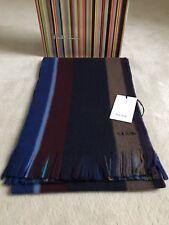 Paul Smith Mens Gents Striped Wool Logo Design Scarf - BNWT & Packaging