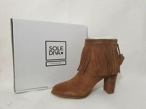 Sole Diva UK Size 6 Suede Tan Ankle Boots with fringed details