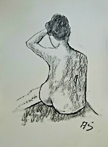 nude female MODERN ABSTRACT SIGNED ORIGINAL CHARCOAL DRAWING SEMBERECKI