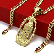 "Mens 18k Gold Plated Hip Hop Holy Mary Pendant 5mm 24"" Cuban Necklace Chain"