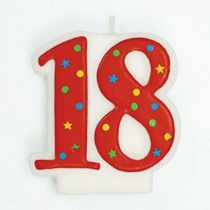 Red Number Cake Candle 58mm - 18, 21, 30, 40, 50 & 60 - Free P&P