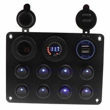 8 Gang Blue LED Rocker Switch Panel 12V/24V Car Boat Marine Breaker Waterproof