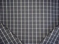 16-3/4Y RALPH LAUREN SOFT BLACK WHITE TARTAN WINDOWPANE PLAID UPHOLSTERY FABRIC