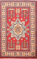 2x3 Traditional Super Kazak Oriental Red/Ivory Hand-Knotted Area Rug Wool Carpet