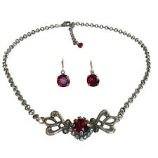 Ruby Red Boho Filigree Choker Necklace Earring Set with Crystal from Swarovski