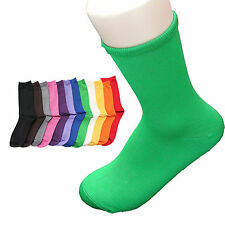 Girl's Women's Fashion Socks Cotton Solid Color 7-9 Yellowish Green Casual