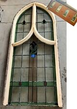 More details for original antique leaded stained glass arched church window (more available)