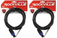 """2 Rockville RCTS1610 10' 16 AWG 1/4"""" TS to Speakon Pro Speaker Cable 100% Copper"""