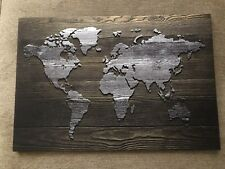 USA World Map Canvas 19 X 28 Inches Ready To Hang United States America Wood