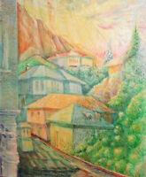 1999 Impressionist oil painting landscape mountain village signed