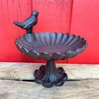 Cast Iron Round Flower Petal Robin Garden Bird Bath Water Feeder Ornate Stand A