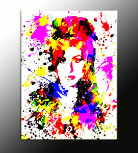 QUADRO astratto Amy Winehouse action color pop art già con telaio prodotto ita
