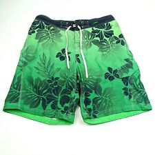 Speedo Mens XL Swim Trunks Shorts Green Mesh Lined Floral Swimming