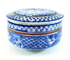 Fitz & Floyd Round Cobalt Blue & White Glazed Trinket Jewelry Box Vintage w/ lid