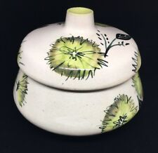 Becker Pottery - Hand Painted Ceramic Bowl w/ lid green flowers leaves 60's 70's