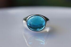 Sterling Silver Ring Swiss Blue Topaz Gemstone 925 Fine Handmade Oval 10x12MM