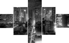 Large 5 Piece Cascading New York Black White Canvas Pictures Quality Art Prints
