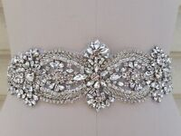 "Wedding Dress Bridal Sash Belt - Crystal Pearl Wedding Sash Belt = 22"" Long"