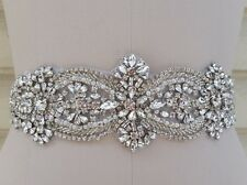 "Wedding Dress Bridal Sash Belt - Crystal Pearl Wedding Sash Belt = 15 1/2"" Long"