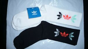 2 Pairs  Adidas Originals Whiye /Black Socks 8-11  Sports Mid Cut Crew