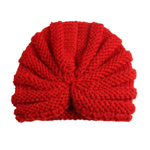 More Choice New Baby Fur Ball Knitted Turban Pom Hat Kids Winter Warm Beanie Cap