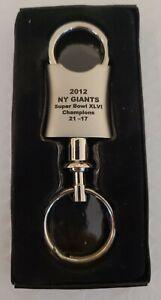 2012 NY Giants Super Bowl XLVI Commemorative Valet Key Chain Aluminum Engraved