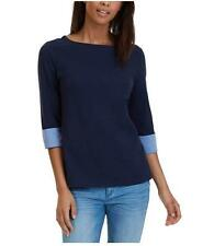Nautica Women's Chambray Casual Cuff Top 3/4 Sleeve - Navy - Size: Small    L-11