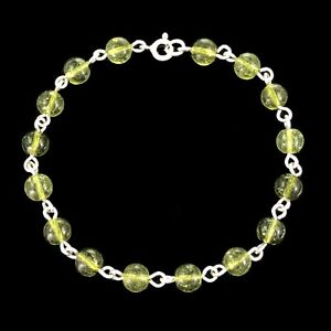 HANDCRAFTED Solid 925 Sterling Silver 6mm Round Peridot Gemstone Bracelet