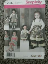 Doll clothes pattern fits 18 in doll and child Simplicity 1793 size 3-8