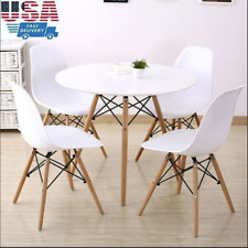 Retro Dining Table and Chairs 4 Set Wooden Legs Room Kitchen Lounge White Chair
