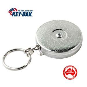 KEY-BAK-Heavy Duty Retractable Belt Key Clip Reel-Chain #5  Free Postage!