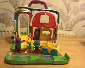Vintage Barney Purple Dinosaur playset / carry case Fisher Price