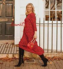 ZARA BLACK RED LEOPARD ANIMAL PRINT LONG FLOWING RUFFLED DRESS, SIZE M /UK 10 12