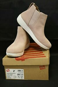 FITFLOP Ladies Chelsea Boots Size 5.5 Suede Cool Taupe ( Dusty Pink ) Boxed #A2