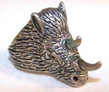1 DELUXE SPIKED RHINO HEAD SILVER BIKER RING BR48 mens  jewelry rings ANIMAL