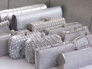 Party Prom Wedding Gift Silver Diamante Crystal Satin Purse Clutch Handbag Bag