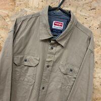 Vintage WRANGLER Premium Quality Beige Long Sleeve Workwear Shirt Men's Size L
