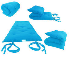 Queen Size Turquoise Japanese Floor Rolling Futon Mattresses, Thai Mat, Beds