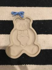 """1991 The Pampered Chef 6"""" Teddy Bear Clay Cookie Mold Stamp Candy Baking"""