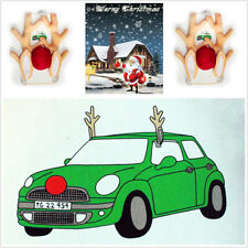Christmas Reindeer Antlers Red Nose Cute Rudolph Set Car Decoration Short Plush
