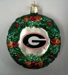 University of Georgia Bulldogs Wreath Glass Ornament Collegiate OWC
