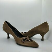 "Stuart Weitzman 7 M Olive Green Suede High Heels Pumps Shoes Cut Outs 2"""