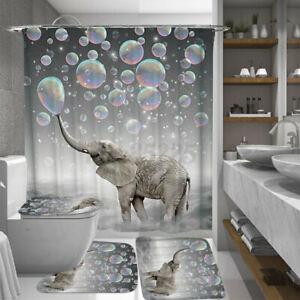 4pcs Bubbles Elephant Waterproof Bathroom Shower Curtain Toilet Cover Floor