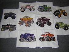 Machine Embroidered Monster Trucks  Quilt Blocks