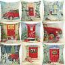 """18"""" Christmas Car Cotton Linen Home Décor Sofa Pillow Case Cushion Cover Xmas"""