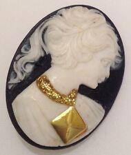 broche vintage couleur or avec camée noir buste femme blanc déco or 360