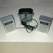 NEW Old Stock SANYO Sportster J37 Portable Speakers with Battery Case Old School