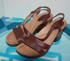 Dansko Brown Leather Sandal Heels Open Toe Clogs W Sculpted Heels Sz7